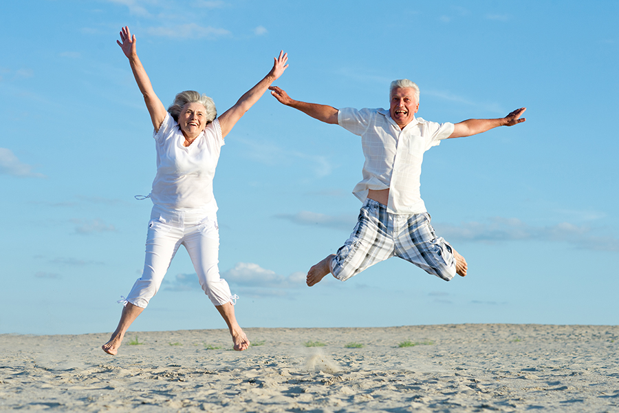 loving mature couple on a background of clear sky